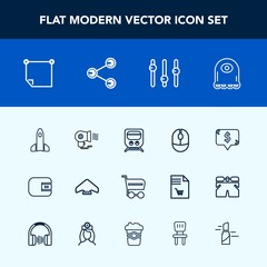 Modern, simple vector icon set with office, cart, parachute, transport, square, cartoon, frame, fan, sky, purse, mouse, hair, wallet, alien, white, technology, device, cash, parachuting, space icons