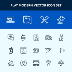 Modern, simple vector icon set with message, zoom, interior, cocktail, male, water, tool, lamp, bubble, work, oar, clothing, juice, summer, currency, map, home, uniform, communication, cash, wc icons