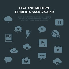 cloud and networking, chat and messenger, video, photos fill vector icons and elements background concept on dark background.Multipurpose use on websites, presentations, brochures and more
