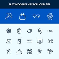 Modern, simple vector icon set with loud, technology, loudspeaker, cell, sport, online, egyptian, telephone, voice, gym, helm, home, picking, money, phone, can, clothes, crane, glasses, iron icons