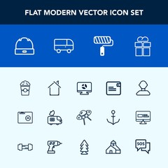 Modern, simple vector icon set with blank, box, folder, present, coffee, gift, television, antenna, package, infographic, spaceship, hat, internet, wallet, profile, spacecraft, purse, head, roll icons