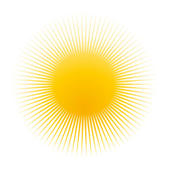 Yellow sun icon, clip-art, symbol, isolated on white background, vector illustration.
