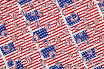 Rain drops full of USA flags
