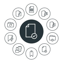 folder, bookmarks, files Infographic Circle outline Icons Set. Contains such Icons as  bookmark,  table,  media,  element,  paper,  blank,  document,  business and more. Fully Editable. Pixel Perfect