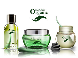 Aloe vera organic cosmetics set Vector. Lotion and shower gel realistic mock up. Product packaging bio collections