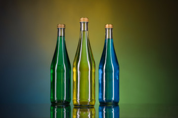 bottles on a colorful background