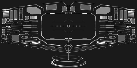 HUD Visualization User Interface Control Panel Vector Background. Abstract UI Element Screen Display Communication Concept.