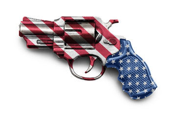 Revolver Gun flagged with the american flag