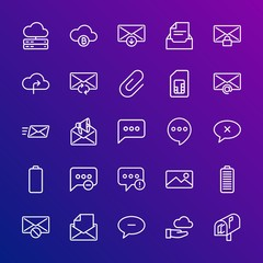 Modern Simple Set of cloud and networking, chat and messenger, mobile, email Vector outline Icons. Contains such Icons as network, open and more on gradient background. Fully Editable. Pixel Perfect.