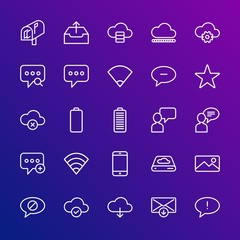 Modern Simple Set of cloud and networking, chat and messenger, mobile, email Vector outline Icons. Contains such Icons as message,  data and more on gradient background. Fully Editable. Pixel Perfect.