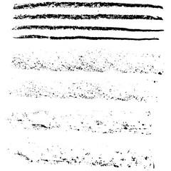 Grunge chalk strokes. Freehand black brushes. Handdrawn chlked smears. Modern vector illustration.