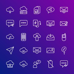 Modern Simple Set of cloud and networking, chat and messenger, mobile, email Vector outline Icons. Contains such Icons as  card,  mail and more on gradient background. Fully Editable. Pixel Perfect.