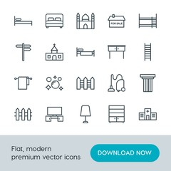 Modern Simple Set of buildings, furniture, housekeeping Vector outline Icons. Contains such Icons as  light,  architecture,  television and more on white background. Fully Editable. Pixel Perfect.