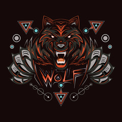 RED WOLF, WOLVES, HEAD WOLV