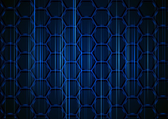 Blue Hexagonal Structure with Light Stripes on Dark Background - Abstract Illustration with 3D Effect, Vector