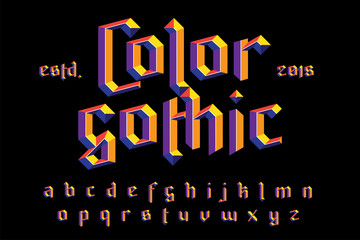 Color gothic alphabet