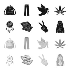 Amulet, hippie girl, freedom sign, old cassette.Hippy set collection icons in black,monochrome style vector symbol stock illustration web.