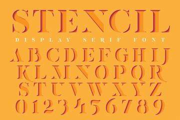 Display stencil serif antique font