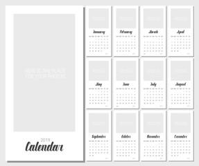 Vector Calendar Planner for 2019 Year. Handwritten lettering.