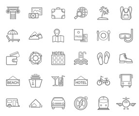 Travel, vacation, tourism, leisure, monochrome icons, flat, outline, vector. Different types of recreation and ways to travel. Gray line drawings on white background. Vector.