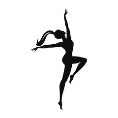 Sketch. Dancer - young girl dances - isolated on white background - art vector