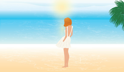 Woman, modern, young, in a summer dress is standing on the seashore and looks at the sunrise - art vector illustration