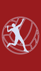 Icon - Volleyball player, man, ball - isolated - white silhouette on dark red background - art vector