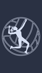 Icon - Volleyball player, woman, ball - isolated - white silhouette on dark blue background - art vector