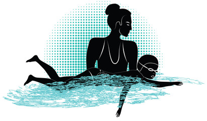Trainer woman teaches a swim small child - abstract grunge background - art vector