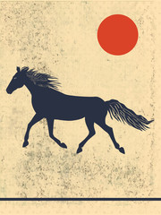 Running horse on abstract, grunge, spotted, old background - vector art illustration