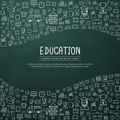 Education infographic with hand drawn doodle school icons. For website banner, printing design, presentation. Vector illustration.