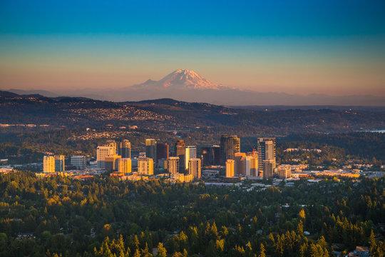 Downton Bellevue, Washington with Mt. Rainier