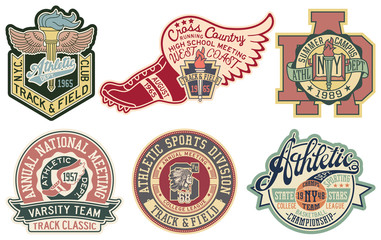 Vintage College athletic sporting department vector badge and patch collection for print or embroidery