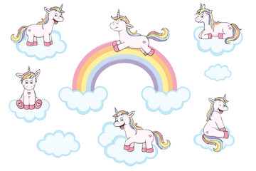 cute unicorns with rainbow and clouds collection