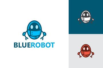 Blue Robot Logo Character Template Design Vector, Emblem, Design Concept, Creative Symbol, Icon