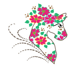 vector tattoo floral horse portrait..