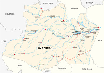 road vector map of the brazilian state amazonas