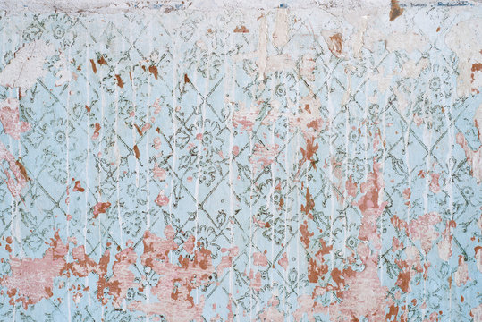 abstract texture of the old blue wall. worn vintage wall with stains of white paint. shabby background. wallpaper.