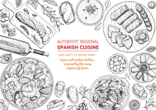 Spanish cuisine top view frame. A set of spanish dishes with croquetas, bocadillo, paella, gaspacho, tapas. Food menu design template. Vintage hand drawn sketch vector illustration. Engraved image