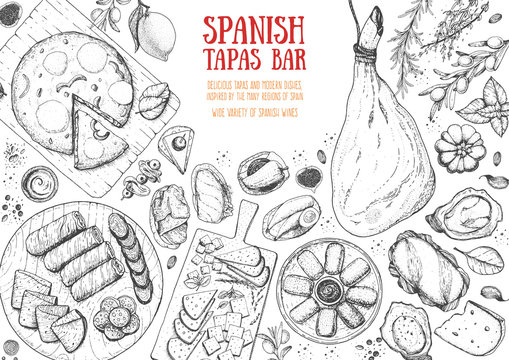Spanish cuisine top view frame. A set of spanish dishes with hamon, tortilla, croquettes, tapas, sausages . Food menu design template. Vintage hand drawn sketch vector illustration. Engraved image