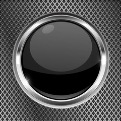 Black button with chrome frame on metal background. Round glass shiny 3d icon