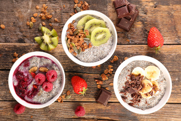 chia, cereal and fruits