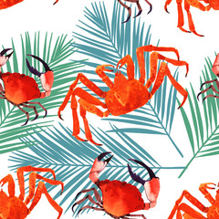 crab watercolor seamless pattern illustration, marine texture,pattern with palm leaf. tropical background