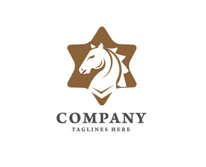 creative horse and star logo concept,Horse head combine with star icon,Stallion logo vector
