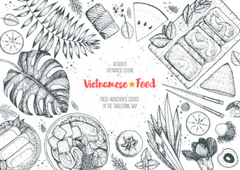 Vietnamese food top view frame. A set of vietnamese dishes with spring rolls, cao lau, fried spring rolls. Tropical food menu design template. Vintage sketch vector illustration. Engraved image.