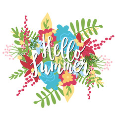 Handwritten Hello summer lettering phrase, flower background. Isolated on white. Graphic desing element.