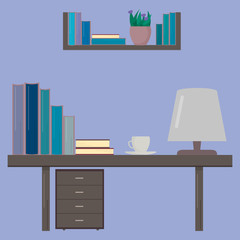 Desk  with books and cup of coffee. Workplace of the student. Education concept. Vector design template for your artworks, websites, social media etc.