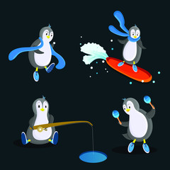 Penguin in the flat style, 4 different poses. Blue colour