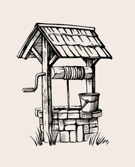 Rustic well sketch