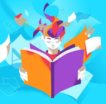Un ragazzo assorto nella lettura di un libro che stimola la sua immaginazione